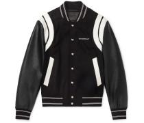 Logo-print Leather And Wool Bomber Jacket - Black