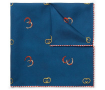 Printed Silk-twill Pocket Square - Blue