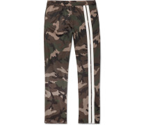 Striped Camouflage-print Jersey Drawstring Trousers - Army green