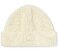 Ribbed Wool-blend Beanie - White