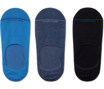 Three-pack Invisible Touch Stretch Pima Cotton-blend No-show Socks - Blue