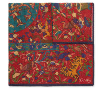 Printed Wool And Silk-blend Pocket Square - Claret