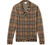 Leopard-Trimmed Checked Jacquard-Knit Sweater