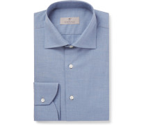 Herringbone Cotton Shirt - Blue
