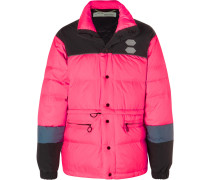 Colour-block Quilted Shell Down Jacket - Pink