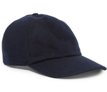 Leather-trimmed Cashmere Baseball Cap - Navy