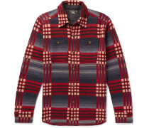 Checked Wool And Cashmere-blend Jacquard Shirt - Red