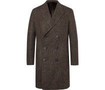 Slim-fit Herringbone Wool-blend Coat