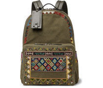 Valentino Garavani Leather-trimmed Embroidered Canvas Backpack