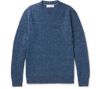Ribbed Mélange Wool-blend Sweater