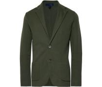 Dark-Green Slim-Fit Unstructured Cotton Blazer