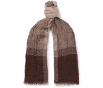 Checked Washed Linen And Silk-blend Scarf - Brown