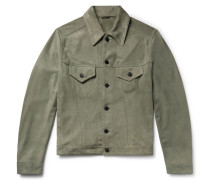 Slim-fit Suede Trucker Jacket - Sage green