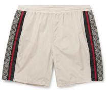 Wide-leg Long-length Striped Logo-print Swim Shorts - Ivory