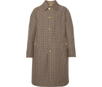 Reversible Logo-Jacquard Cotton-Blend Canvas and Houndstooth Wool Coat