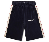 Webbing-trimmed Logo-print Cotton-blend Corduroy Shorts