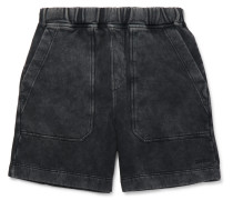 Logo-embroidered Acid-wash Cotton-jersey Shorts - Black