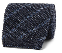 7cm Knitted Silk And Linen-blend Tie - Navy