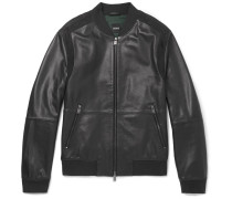 Minop Suede-trimmed Full-grain Leather Bomber Jacket