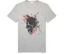 Slim-fit Printed Mélange Cotton-jersey T-shirt