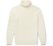Cable-knit Cashmere Rollneck Sweater - Cream