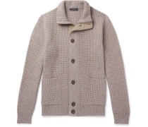 Suede-trimmed Waffle-knit Cashmere Zip-up Cardigan
