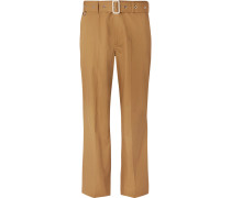Wide-leg Belted Cotton-twill Trousers - Tan