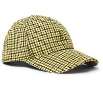 Appliquéd Houndstooth Wool And Cotton-blend Baseball Cap
