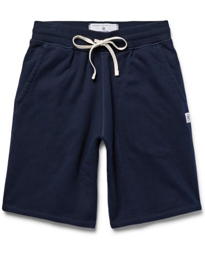 Loopback Cotton-jersey Drawstring Shorts - Midnight blue