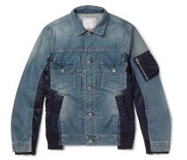 Shell-panelled Denim Jacket - Blue