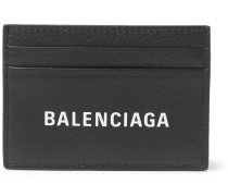 Logo-print Full-grain Leather Cardholder - Black