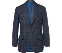Dark-blue Slim-fit Prince Of Wales Checked Wool Blazer