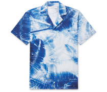 Travis Slim-fit Camp-collar Printed Slub Cotton And Linen-blend Shirt - Blue
