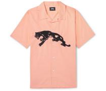Camp-collar Embroidered Cotton-poplin Shirt - Peach
