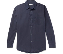 Initial Washed Cotton And Silk-blend Shirt