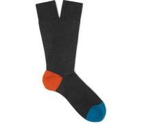 Stratford Merino Wool-blend Socks - Charcoal