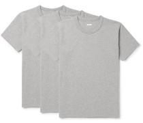 Three-pack Mélange Cotton-jersey T-shirts - Gray