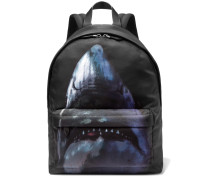 Leather-trimmed Shark-print Canvas Backpack - Black