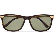 Santos De Cartier Square-frame Tortoiseshell Acetate And Gold-tone Sunglasses - Brown