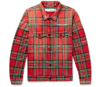 Embroidered Checked Cotton-blend Jacket