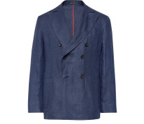Navy Unstructured Double-breasted Linen Blazer