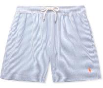 Mid-length Striped Cotton-blend Seersucker Swim Shorts - Blue