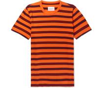 Striped Cotton-jersey T-shirt - Orange