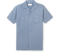 Dario Camp-collar Piped Cotton And Linen-blend Shirt