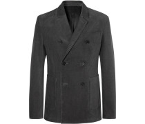 Dark-grey Slim-fit Double-breasted Cotton-corduroy Blazer