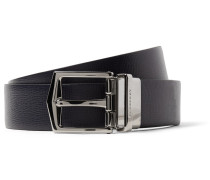 3.5cm James Reversible Navy And Black Cross-grain Leather Belt
