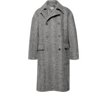 Oversized Double-breasted Herringbone Stretch Virgin Wool-blend Coat