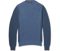 Bi-colour Ribbed-knit Cashmere Sweater