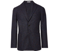Storm-blue K-jacket Slim-fit Donegal Virgin Wool-blend Blazer