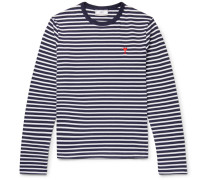 Embroidered Striped Cotton T-shirt - Navy